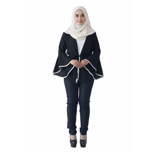 Fesyen Rasa Sayang, outerwear for women, Jelita Kimono Cardigan Black Color Front