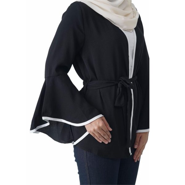 Fesyen Rasa Sayang, outerwear for women, Jelita Kimono Cardigan Black Color Side