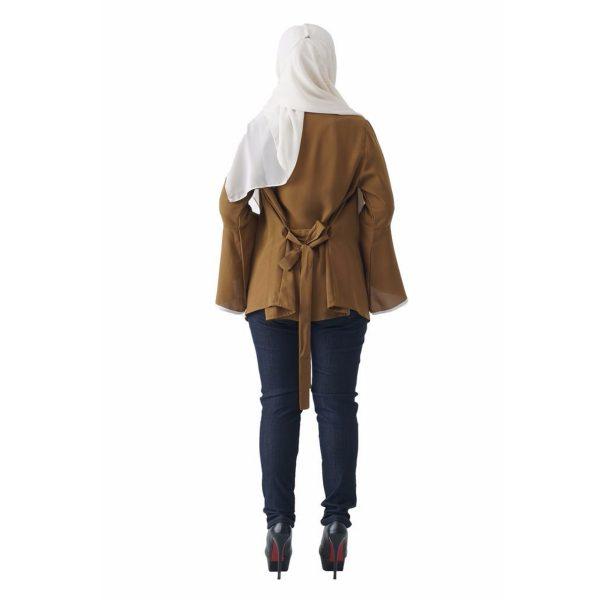 Fesyen Rasa Sayang, outerwear for women, Jelita Kimono Cardigan Coffee Color Back