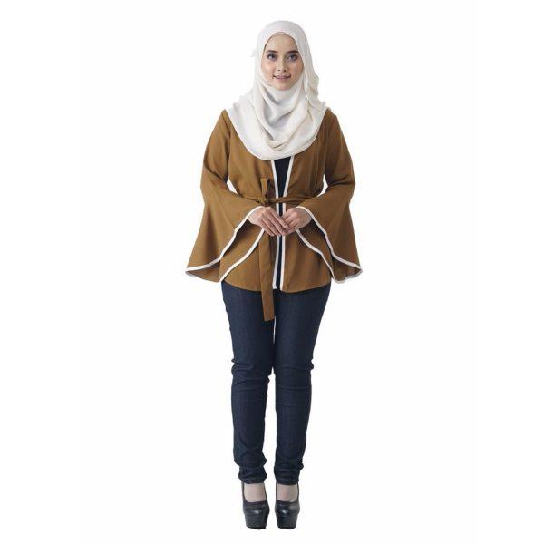 Fesyen Rasa Sayang, outerwear for women, Jelita Kimono Cardigan Coffee Color Front