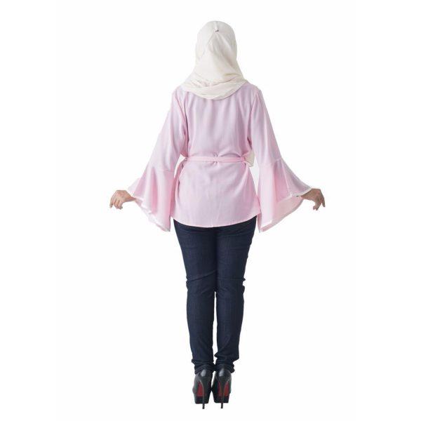 Fesyen Rasa Sayang, outerwear for women, Jelita Kimono Cardigan Light Pink Color Back