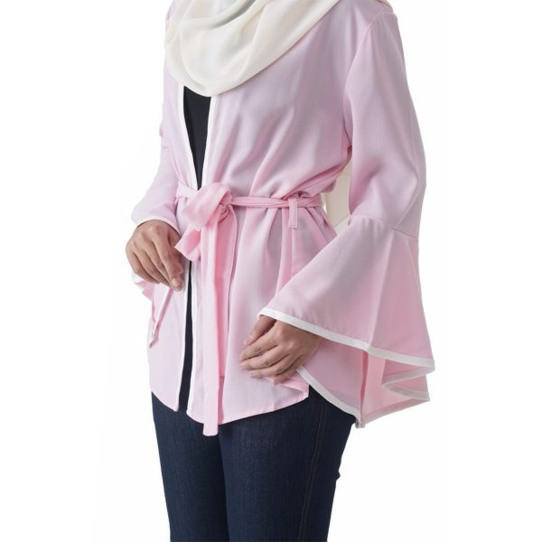 Fesyen Rasa Sayang, outerwear for women, Jelita Kimono Cardigan Light Pink Color Close