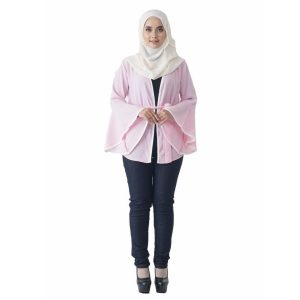 Fesyen Rasa Sayang, outerwear for women, Jelita Kimono Cardigan Light Pink Color Front