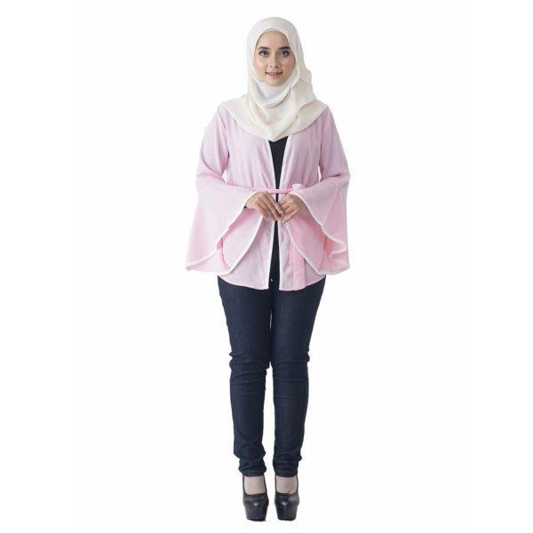 Fesyen Rasa Sayang, outerwear for women, Jelita Kimono Cardigan Light Pink Color Front