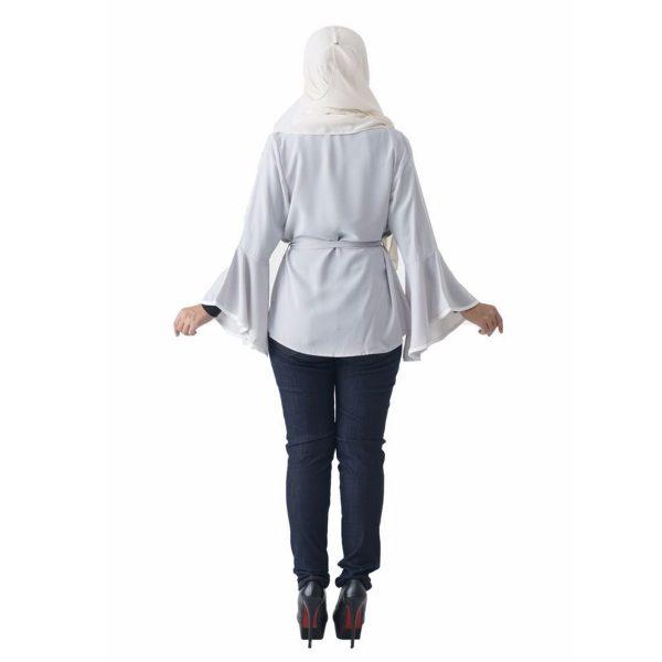 Fesyen Rasa Sayang, outerwear for women, Jelita Kimono Cardigan White Color Back