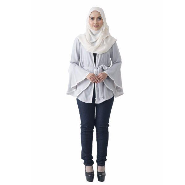 Fesyen Rasa Sayang, outerwear for women, Jelita Kimono Cardigan White Color Front
