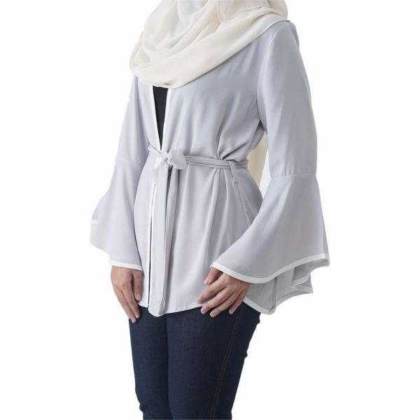 Fesyen Rasa Sayang, outerwear for women, Jelita Kimono Cardigan White Color Side