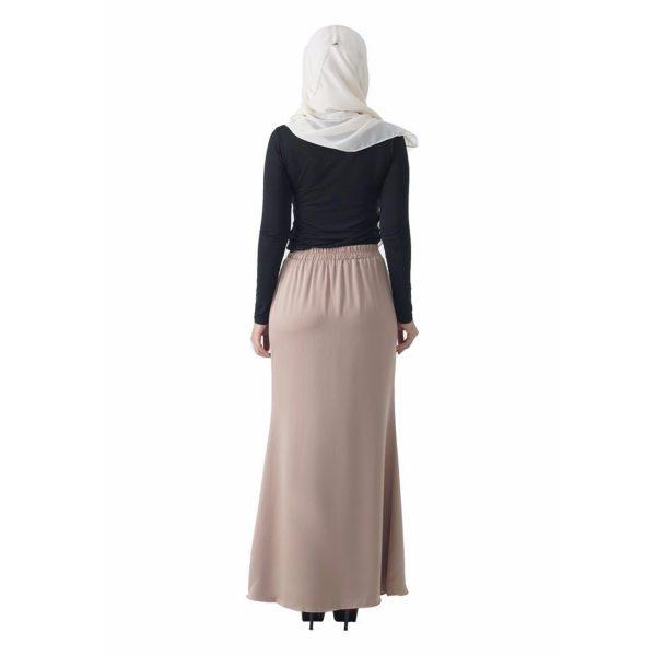 Fesyen Rasa Sayang, skirts muslimah online malaysia, Leena Skirt Cream Color Back