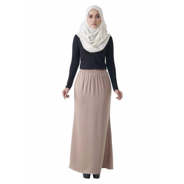 Fesyen Rasa Sayang, skirts muslimah online malaysia, Leena Skirt Cream Color Front