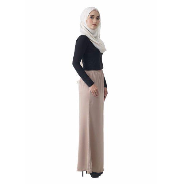 Fesyen Rasa Sayang, skirts muslimah online malaysia, Leena Skirt Cream Color Side