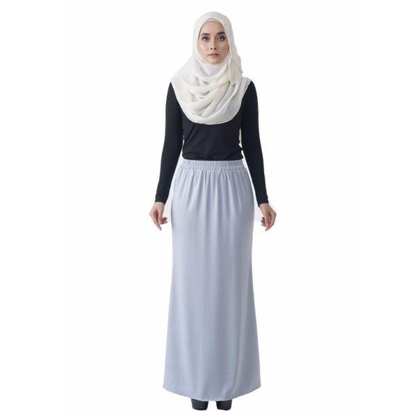 Fesyen Rasa Sayang, skirts muslimah online malaysia, Leena Skirt Pastel Blue Color Front
