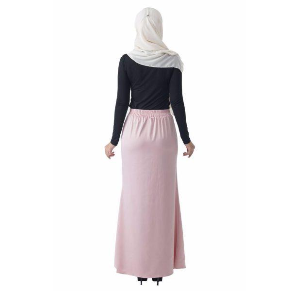 Fesyen Rasa Sayang, skirts muslimah online malaysia, Leena Skirt Pastel Pink Color Back
