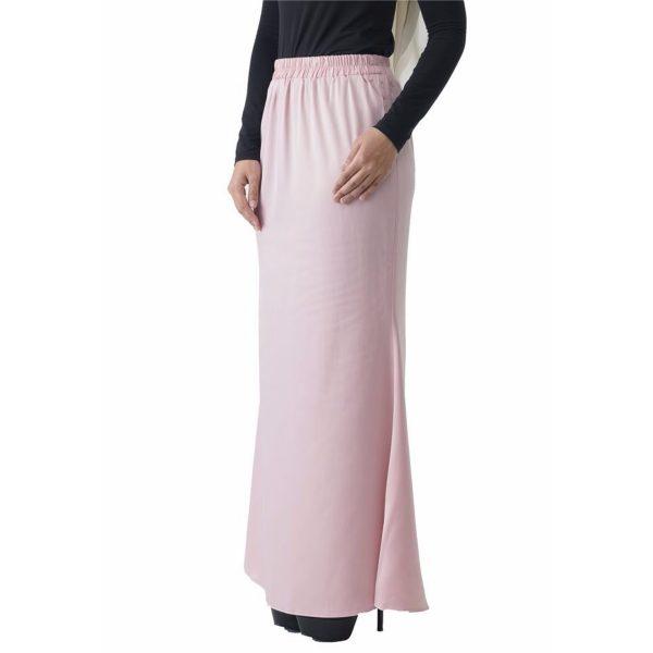 Fesyen Rasa Sayang, skirts muslimah online malaysia, Leena Skirt Pastel Pink Color Close