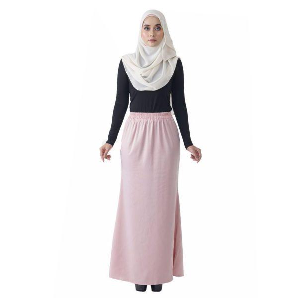 Fesyen Rasa Sayang, skirts muslimah online malaysia, Leena Skirt Pastel Pink Color Front