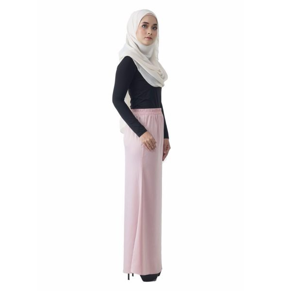 Fesyen Rasa Sayang, skirts muslimah online malaysia, Leena Skirt Pastel Pink Color Side