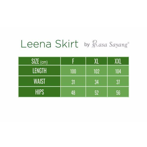 Fesyen Rasa Sayang, skirts muslimah online malaysia, Leena Skirt Size Chart