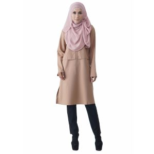 Fesyen Rasa Sayang, blouse muslimah online, Mastini Blouse Muslimah Light Khaki Color Front