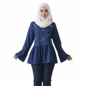 Fesyen Rasa Sayang, blouse muslimah online, Olivia Blouse Muslimah Dark Blue Color Front