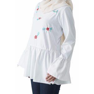 Fesyen Rasa Sayang, blouse muslimah online, Olivia Blouse Muslimah White Color Close