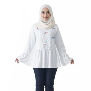 Fesyen Rasa Sayang, blouse muslimah online, Olivia Blouse Muslimah White Color Front