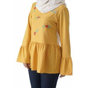 Fesyen Rasa Sayang, blouse muslimah online, Olivia Blouse Muslimah Yellow Color Close
