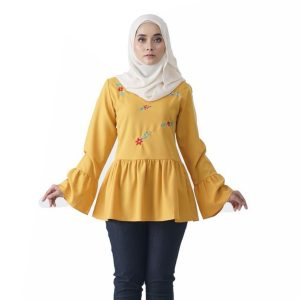 Fesyen Rasa Sayang, blouse muslimah online, Olivia Blouse Muslimah Yellow Color Front