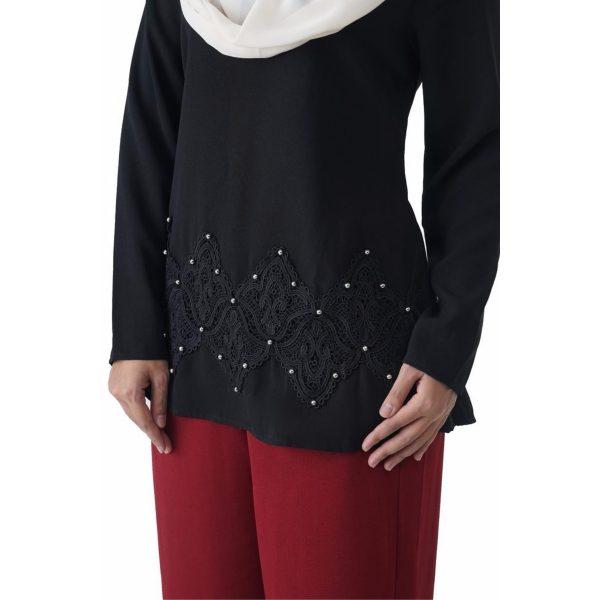 Fesyen Rasa Sayang, blouse muslimah online, Pearl Blouse Muslimah Black Color Close