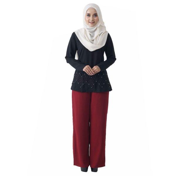 Fesyen Rasa Sayang, blouse muslimah online, Pearl Blouse Muslimah Black Color Front