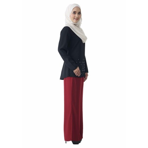 Fesyen Rasa Sayang, blouse muslimah online, Pearl Blouse Muslimah Black Color Side