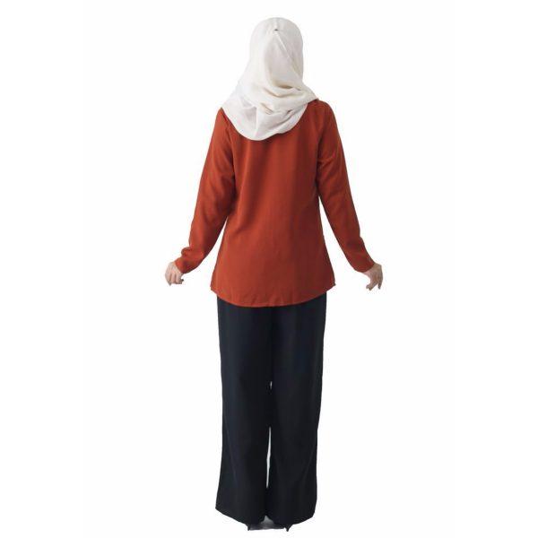 Fesyen Rasa Sayang, blouse muslimah online, Pearl Blouse Muslimah Brown Color Back