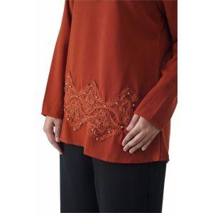 Fesyen Rasa Sayang, blouse muslimah online, Pearl Blouse Muslimah Brown Color Close