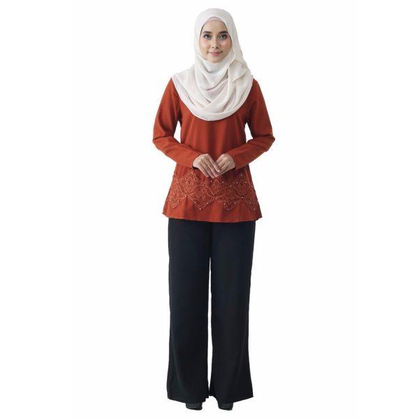 Fesyen Rasa Sayang, blouse muslimah online, Pearl Blouse Muslimah Brown Color Front