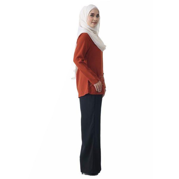 Fesyen Rasa Sayang, blouse muslimah online, Pearl Blouse Muslimah Brown Color Side