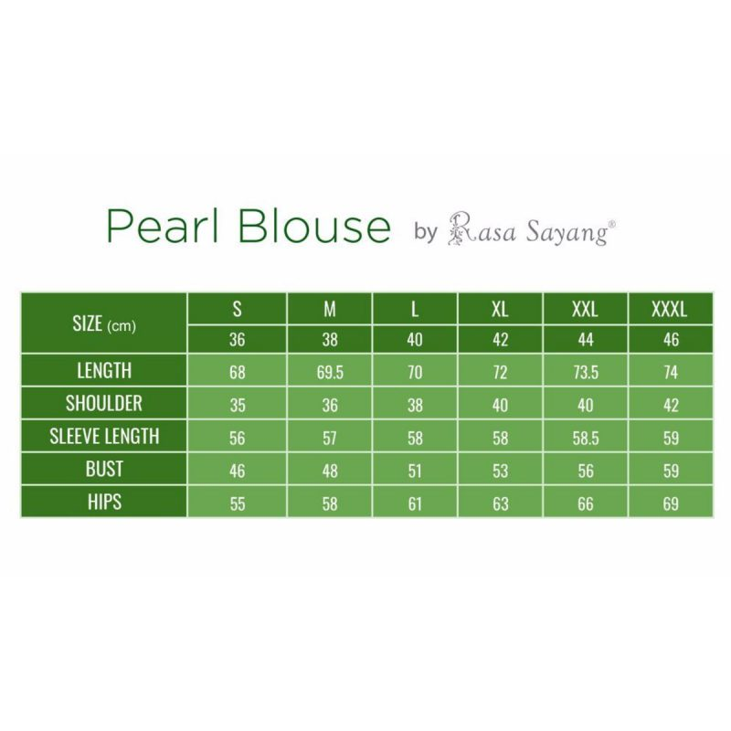 Pearl Blouse Muslimah Size Chart