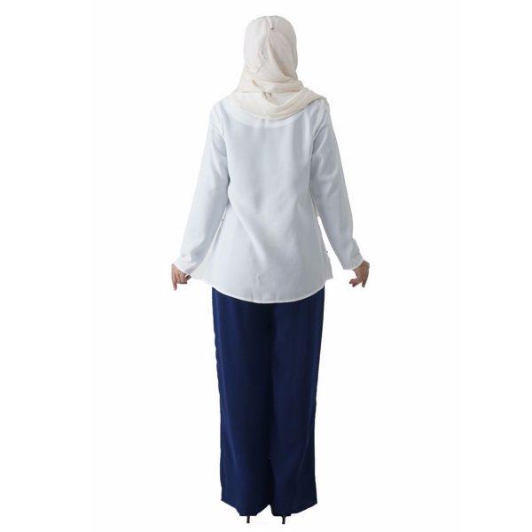 Fesyen Rasa Sayang, blouse muslimah online, Pearl Blouse Muslimah White Color Back