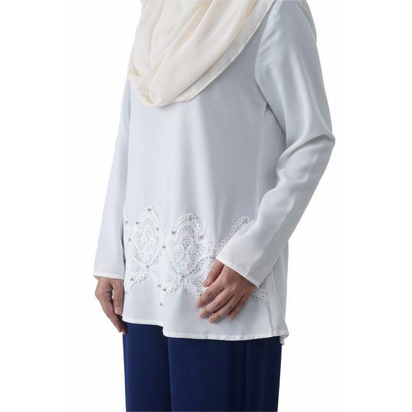 Fesyen Rasa Sayang, blouse muslimah online, Pearl Blouse Muslimah White Color Close