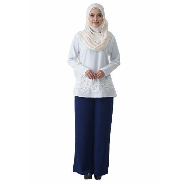 Fesyen Rasa Sayang, blouse muslimah online, Pearl Blouse Muslimah White Color Front