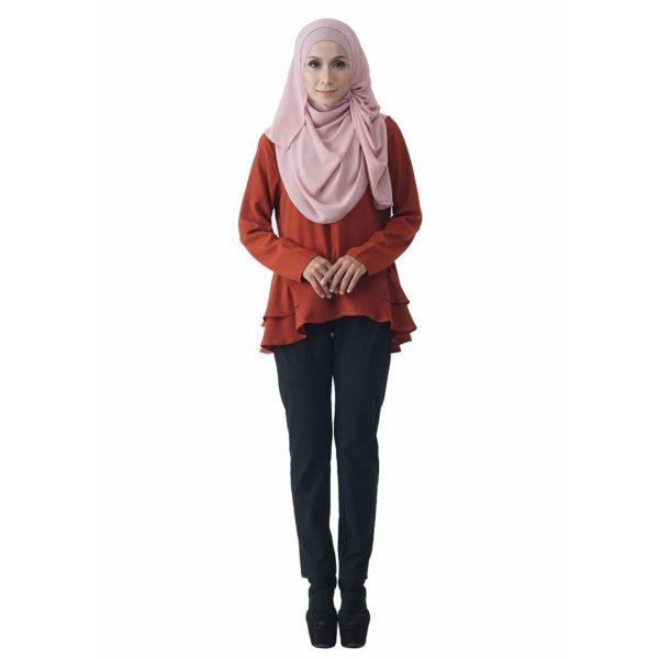 Fesyen Rasa Sayang, blouse muslimah online, Raffles Blouse Muslimah Cinnamon Brown Color Front