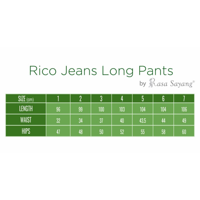 Fesyen Rasa Sayang, long pants, Rico Jeans Long Pants Size Chart