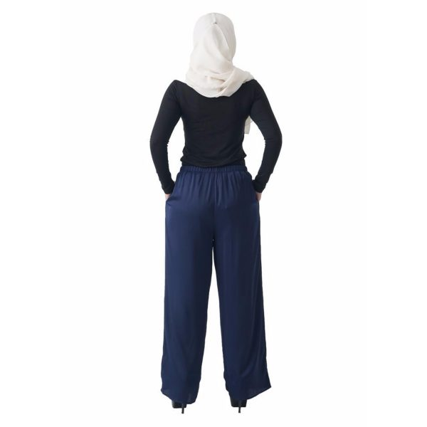 Fesyen Rasa Sayang, long pants fashion malaysia, Rose Pants Dark Blue Color Back