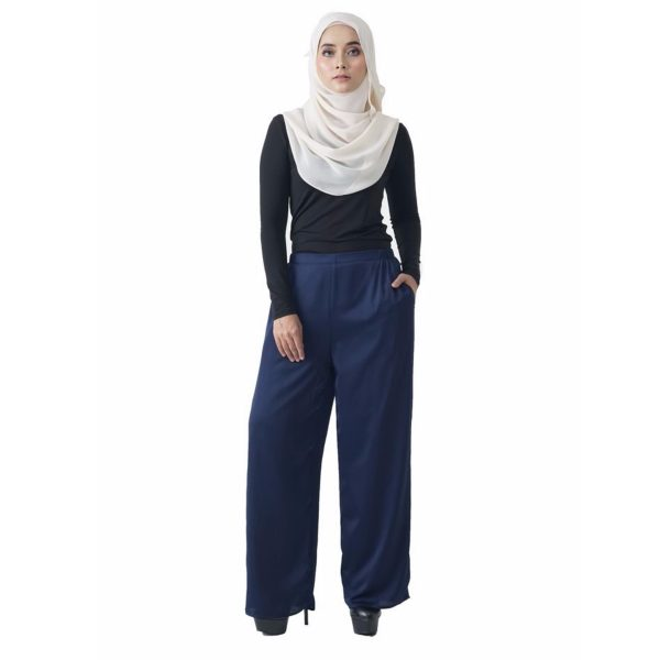 Fesyen Rasa Sayang, long pants fashion malaysia, Rose Pants Dark Blue Color Front