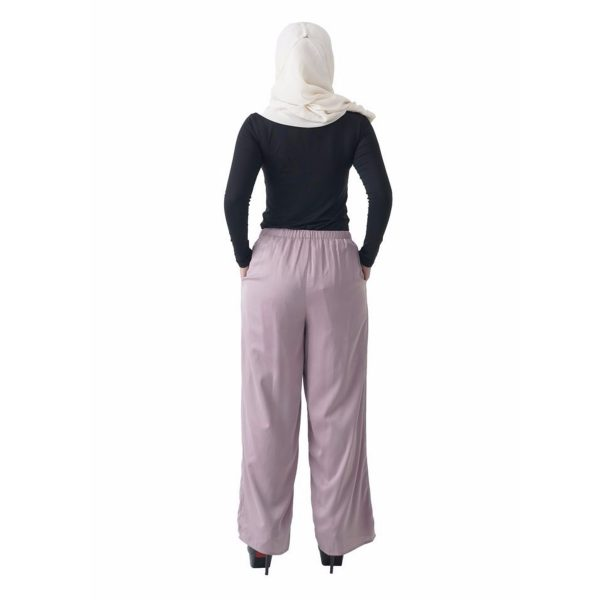 Fesyen Rasa Sayang, long pants fashion malaysia, Rose Pants Light Purple Color Back