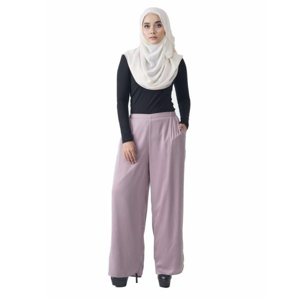 Fesyen Rasa Sayang, long pants fashion malaysia, Rose Pants Light Purple Color Front