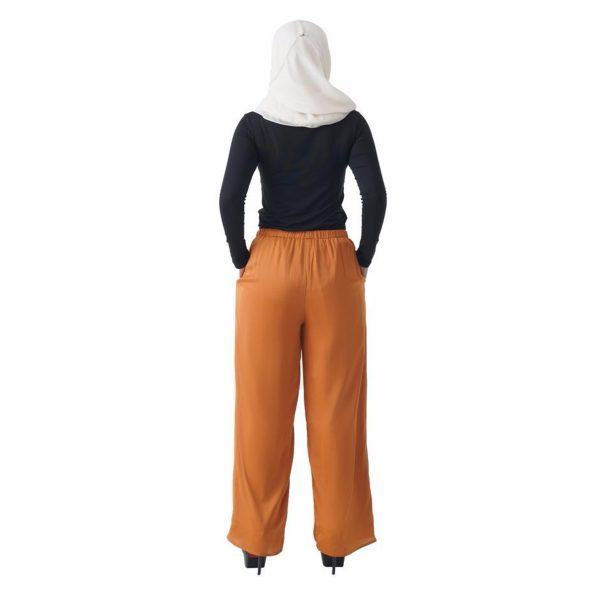 Fesyen Rasa Sayang, long pants fashion malaysia, Rose Pants Mustard Yellow Color Back