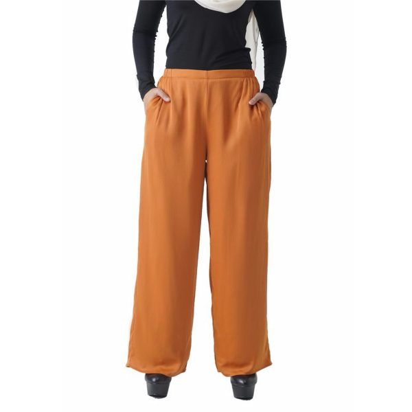 Fesyen Rasa Sayang, long pants fashion malaysia, Rose Pants Mustard Yellow Color Close
