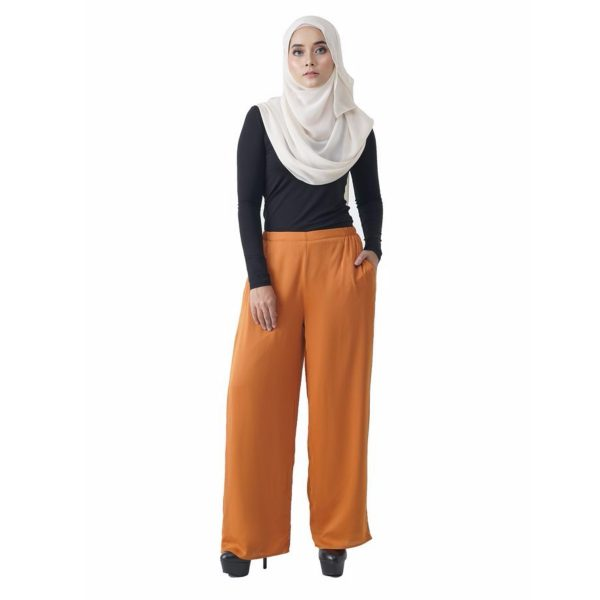 Fesyen Rasa Sayang, long pants fashion malaysia, Rose Pants Mustard Yellow Color Front