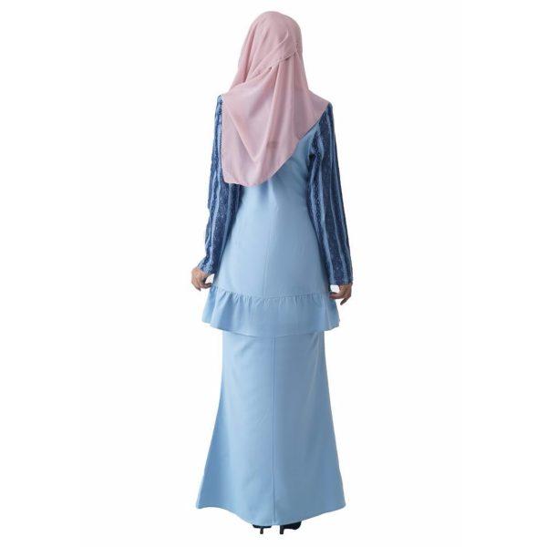 Fesyen Rasa Sayang, baju kurung moden, Rosmana Kurung Set Light Blue Color Back