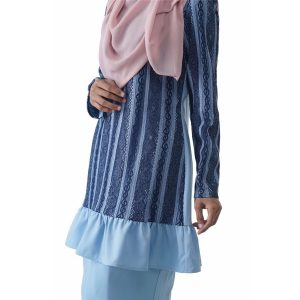 Fesyen Rasa Sayang, baju kurung moden, Rosmana Kurung Set Light Blue Color Close
