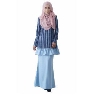 Fesyen Rasa Sayang, baju kurung moden, Rosmana Kurung Set Light Blue Color Front