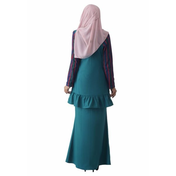 Fesyen Rasa Sayang, baju kurung moden, Rosmana Kurung Set Pine Green Color Back